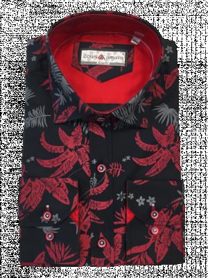 Pánska čierna vzorovaná košeľa Donatelo