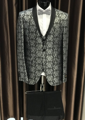 Čierno strieborný pánsky oblek Lucas