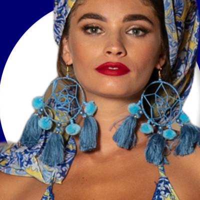 Náušnice Antica Sartoria strapcový kruh modré