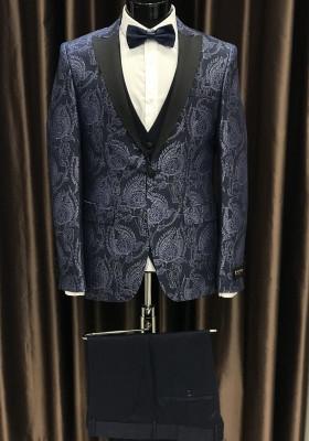 Modro strieborný pánsky oblek Nathan