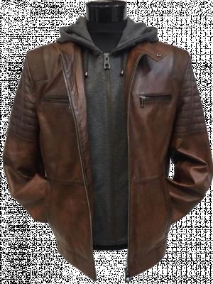 Hnedá kožená bunda Deimos