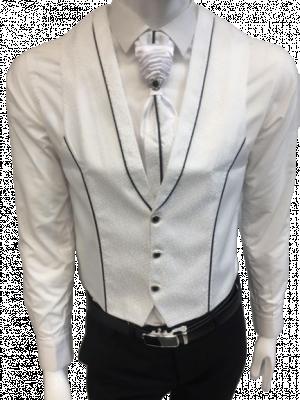 Biela svadobná vesta s ornamentami