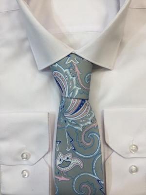 Sivá vzorovaná kravata 60