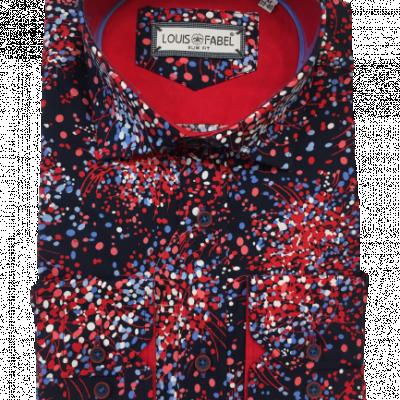 Pánska červenočierna vzorovaná košeľa Redmar