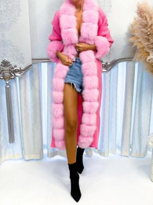 Dlhý pletený sveter Luxy baby ružový