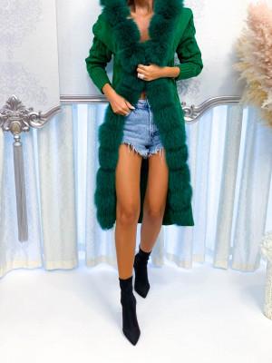 Dlhý pletený sveter Luxy zelený