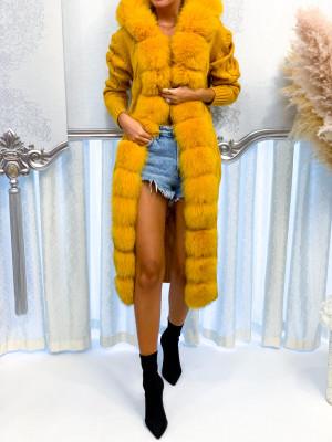 Dlhý pletený sveter Luxy žltý